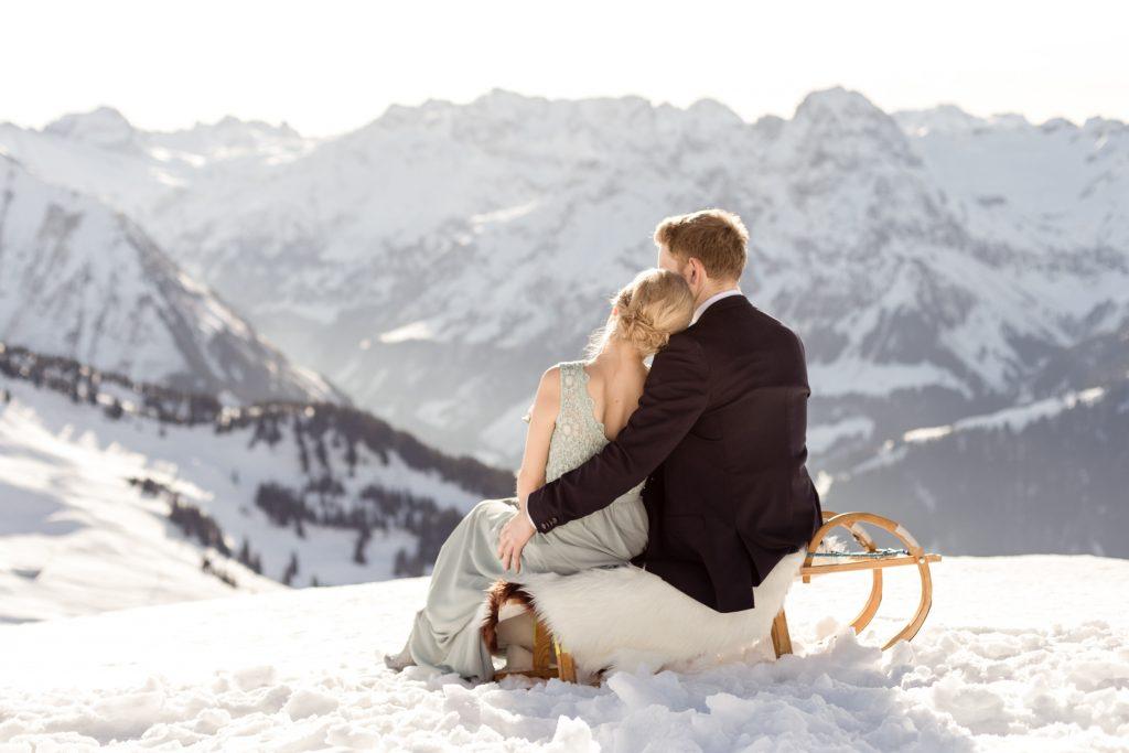 hochzeitsfotos im schnee